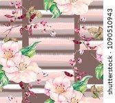 watercolor gelicate flowers on... | Shutterstock . vector #1090510943