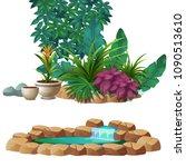 artificial garden of tropical... | Shutterstock .eps vector #1090513610