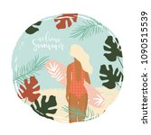 summer paradise poster with... | Shutterstock .eps vector #1090515539