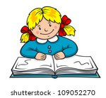 pretty girl reading a book.... | Shutterstock .eps vector #109052270