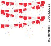 singapore celebration bunting... | Shutterstock .eps vector #1090523213