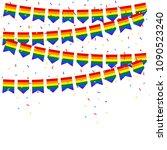 lgbt celebration bunting flags... | Shutterstock .eps vector #1090523240