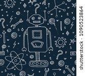 hand drawn funny robots.... | Shutterstock .eps vector #1090523864