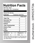 nutrition facts label . vector... | Shutterstock .eps vector #1090525736