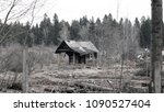 small abandoned wooden house. | Shutterstock . vector #1090527404