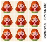 avatars emotions. set a woman... | Shutterstock .eps vector #1090532180