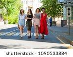 street fashion. four beautiful... | Shutterstock . vector #1090533884