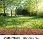old wooden table and grass in... | Shutterstock . vector #1090537763