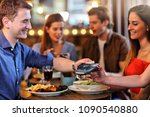 group of friends paying for... | Shutterstock . vector #1090540880