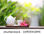 white kettle and cup with... | Shutterstock . vector #1090541894