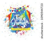 festa junina background on... | Shutterstock .eps vector #1090544723