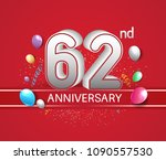 62nd anniversary design red... | Shutterstock .eps vector #1090557530