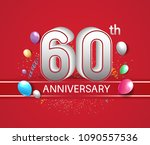 60th anniversary design red... | Shutterstock .eps vector #1090557536