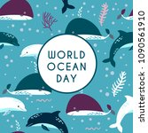 world ocean day greeting card.... | Shutterstock .eps vector #1090561910