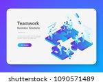 isometric flat vector teamwork... | Shutterstock .eps vector #1090571489
