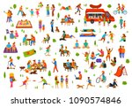 people in the park set. man... | Shutterstock .eps vector #1090574846