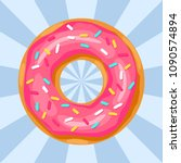 donut with pink glaze   vector... | Shutterstock .eps vector #1090574894