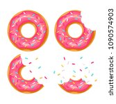 whole donut and half eaten... | Shutterstock .eps vector #1090574903
