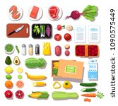 various pre portioned... | Shutterstock .eps vector #1090575449