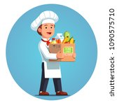 happy cooking chef holding... | Shutterstock .eps vector #1090575710