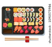 delicious oriental takeaway... | Shutterstock .eps vector #1090575986