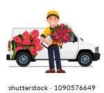 smiling courier boy holding... | Shutterstock .eps vector #1090576649