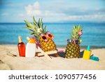 couple of attractive pineapples ...   Shutterstock . vector #1090577456