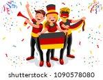 germany football fans. cheerful ... | Shutterstock . vector #1090578080