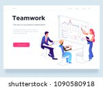 People work in a team and interact with graphs. Business, workflow management and office situations. Landing page template. 3d vector isometric illustration. | Shutterstock vector #1090580918