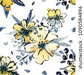 watercolor flower seamless... | Shutterstock . vector #1090584896