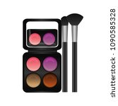 palette eyeshadows with brushes ... | Shutterstock .eps vector #1090585328