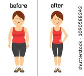 woman's body before and after...   Shutterstock .eps vector #1090588343