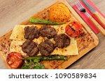 grilled meat balls in... | Shutterstock . vector #1090589834