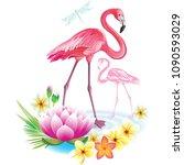 arrangement from tropical... | Shutterstock .eps vector #1090593029