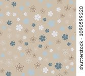 simple pastel floral pattern | Shutterstock . vector #1090599320