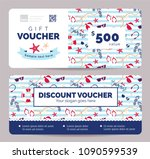 set of summer gift vouchers for ... | Shutterstock .eps vector #1090599539