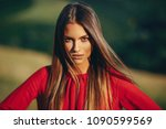 portrait of a beautiful young... | Shutterstock . vector #1090599569