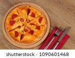 pizza in restaurant menu | Shutterstock . vector #1090601468