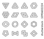 set of impossible shapes. web... | Shutterstock .eps vector #1090602224
