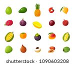 tropical exotic fruits set.... | Shutterstock .eps vector #1090603208