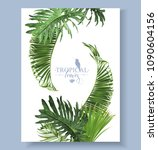vector tropical leaves banner... | Shutterstock .eps vector #1090604156