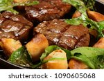 delicious steak meat with... | Shutterstock . vector #1090605068