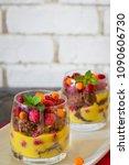 raspberry dessert trifle.... | Shutterstock . vector #1090606730