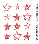set of hand drawn red stars on... | Shutterstock .eps vector #1090612079