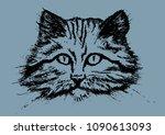 vector wildcat portrait   Shutterstock .eps vector #1090613093
