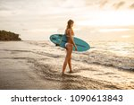 Young Surfer Woman In Sexy...