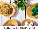 herbal leaves  ground herb...   Shutterstock . vector #1090617158