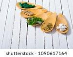 herbal leaves  ground herb...   Shutterstock . vector #1090617164