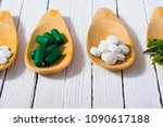 medicament pills on bamboo...   Shutterstock . vector #1090617188