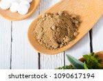 herbal leaves  ground herb...   Shutterstock . vector #1090617194